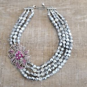 Beautiful silver and pink statement necklace, WHBM